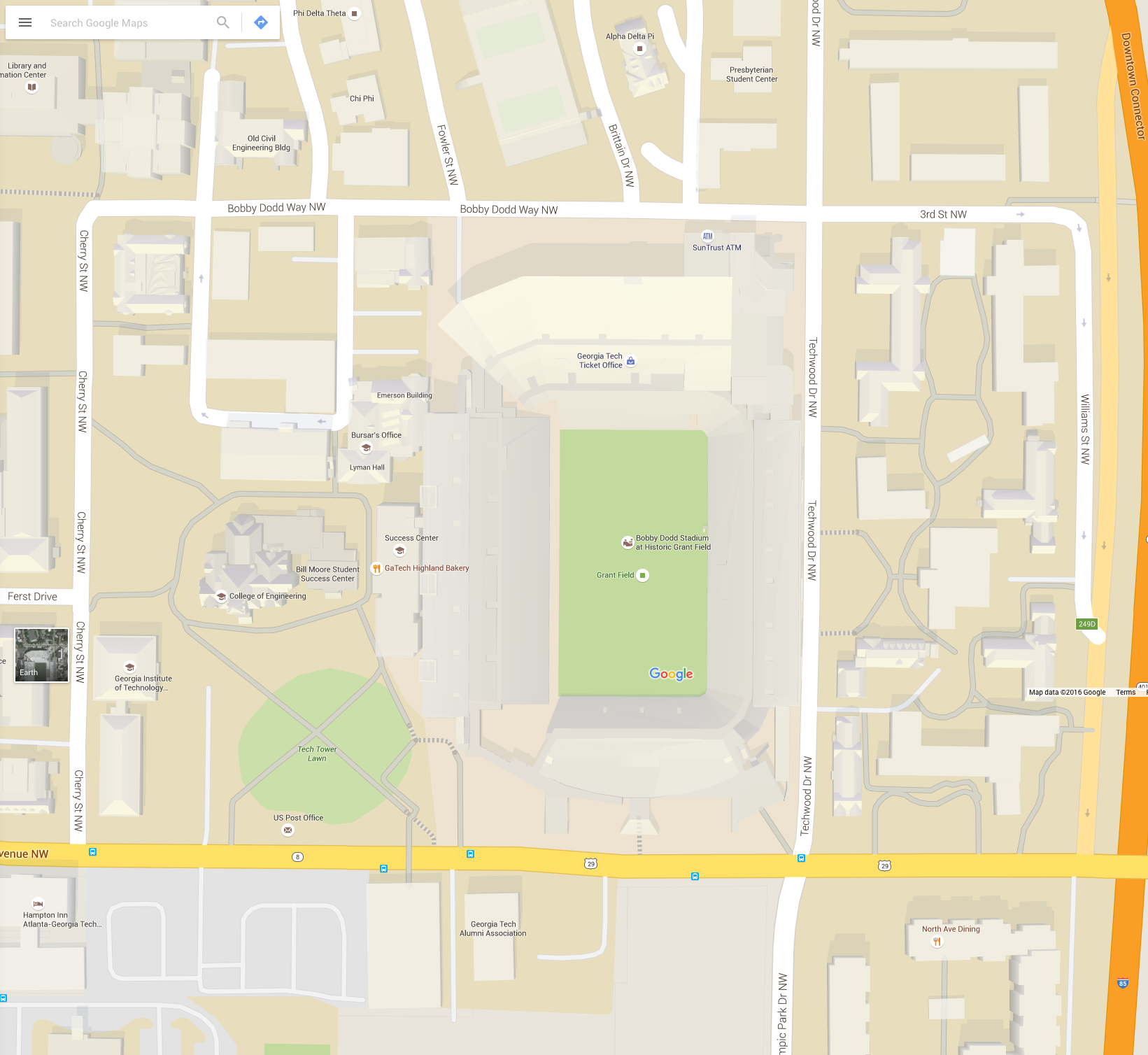 Google Maps view of Bobby-Dodd.